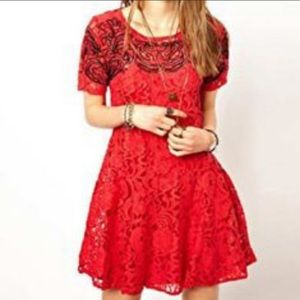 Free People Chili red lace dress. Size S